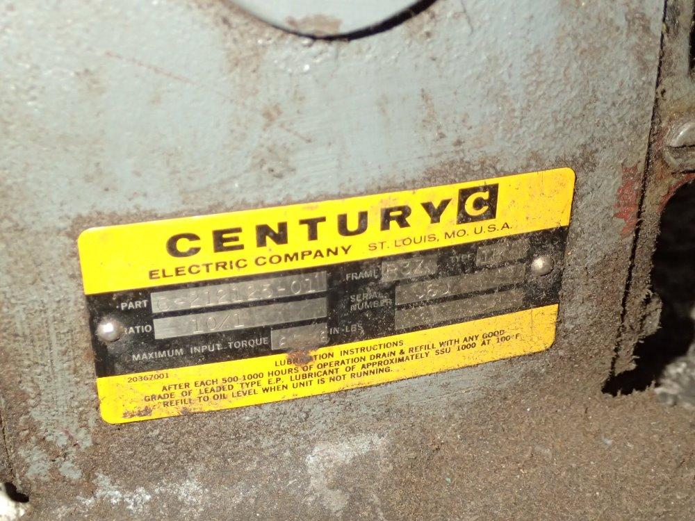 Used century gear drive hgr industrial surplus for Century electric motor serial number lookup