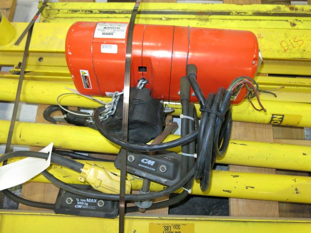 Used Jib Crane Hoist : Used cm jib crane w hoist hgr industrial surplus