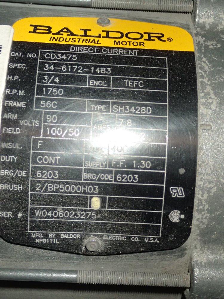 Used baldor dc motor hgr industrial surplus for Baldor motor serial number lookup