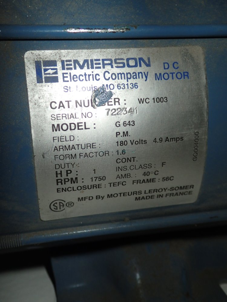 Used emerson dc motor hgr industrial surplus for Emerson electric motor model numbers