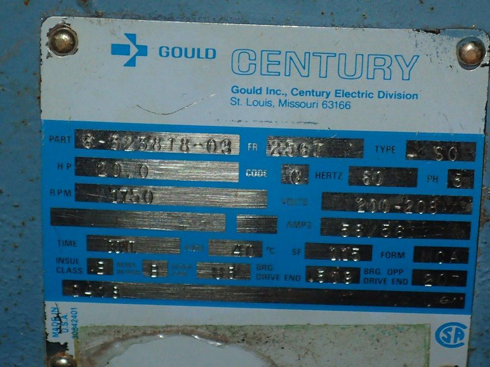 Used gould century motor hgr industrial surplus for Century electric motor serial number lookup