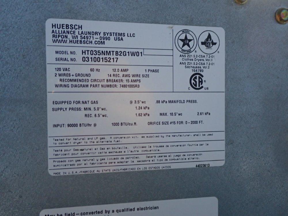 used huebsch dryer hgr industrial surplus 1